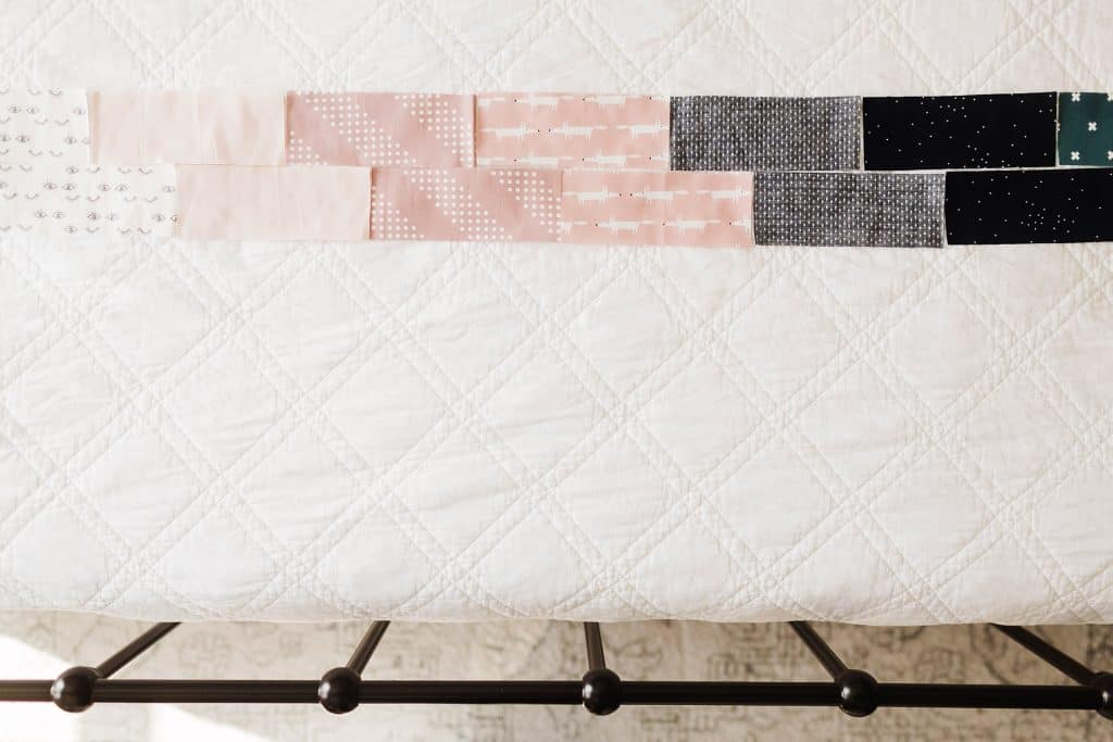 fat quarter baby quilt rectangles laid out