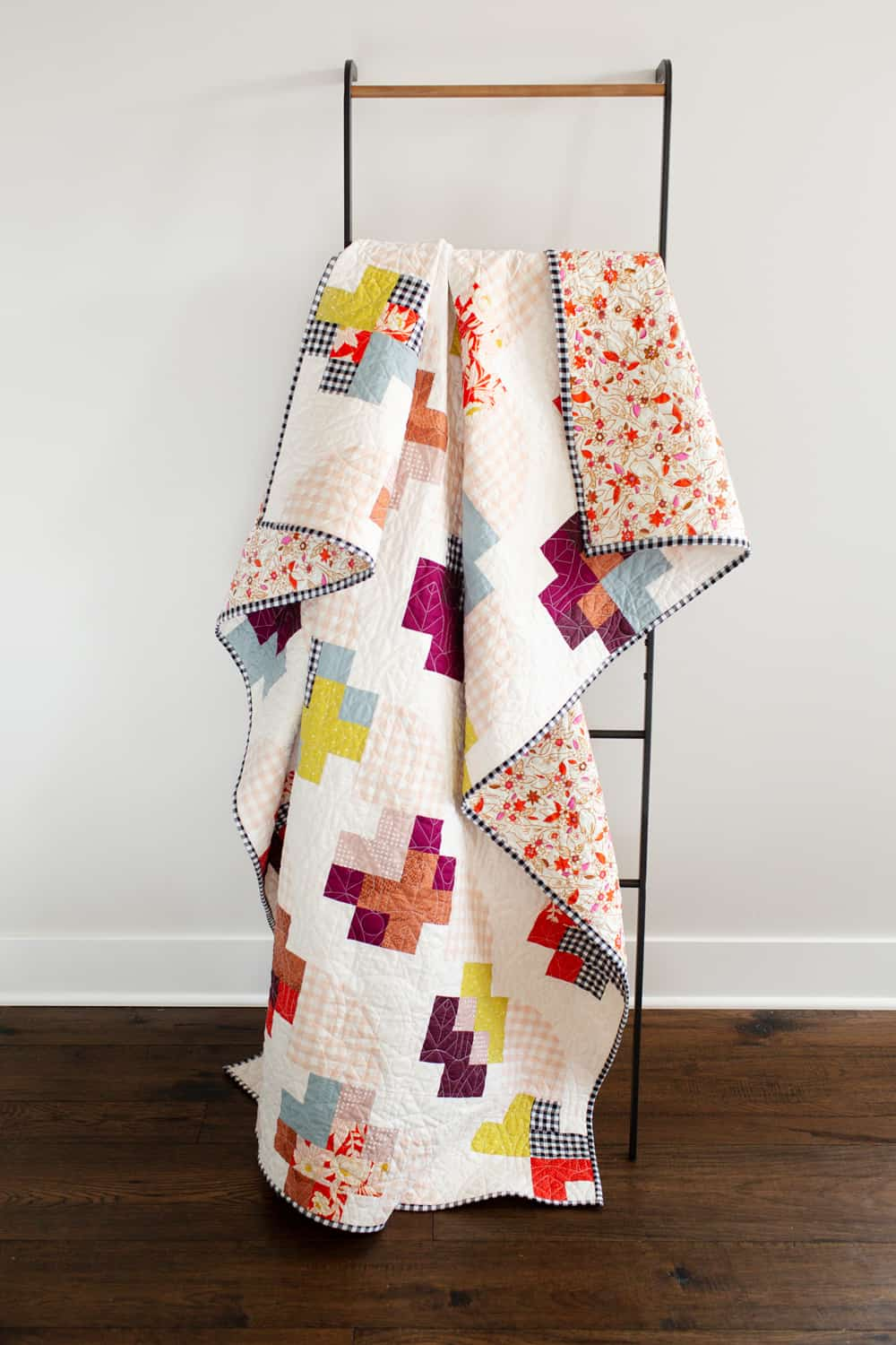 Marcella and Mae quilts from Wren Collective. Gingham Marcella ladder shot.