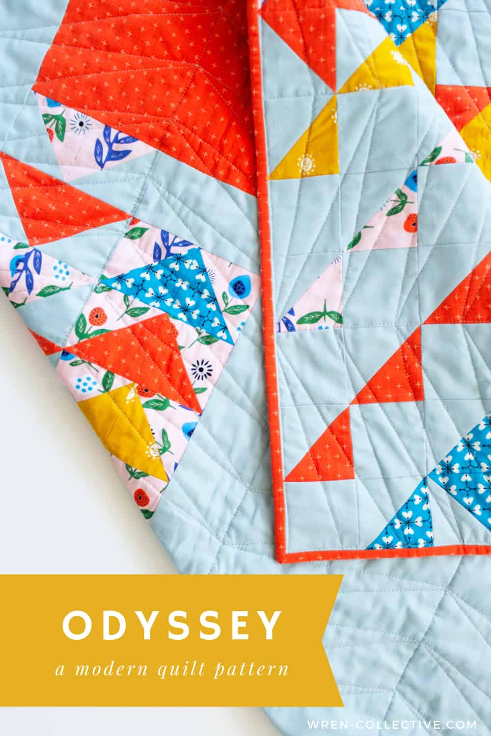 Modern half square triangle quilt - Odyssey quilt from Wren Collective001