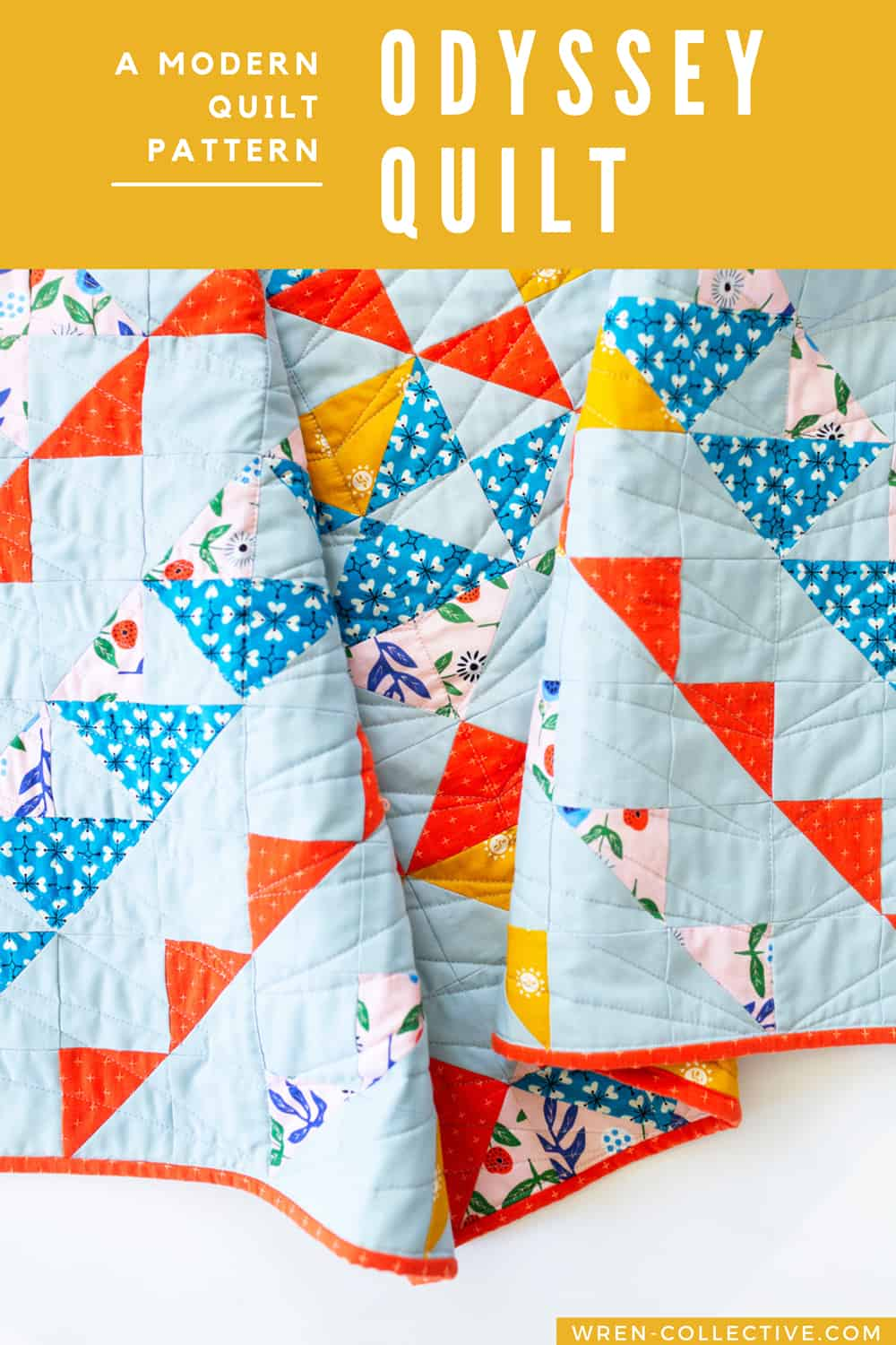 Half square triangle quilt pattern - Odyssey Quilt from Wren Collective001