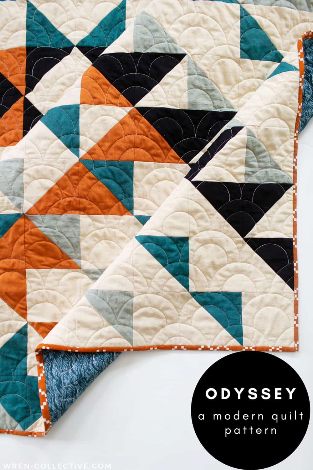 Black and white half square triangles - Odyssey quilt pattern from Wren Collective001