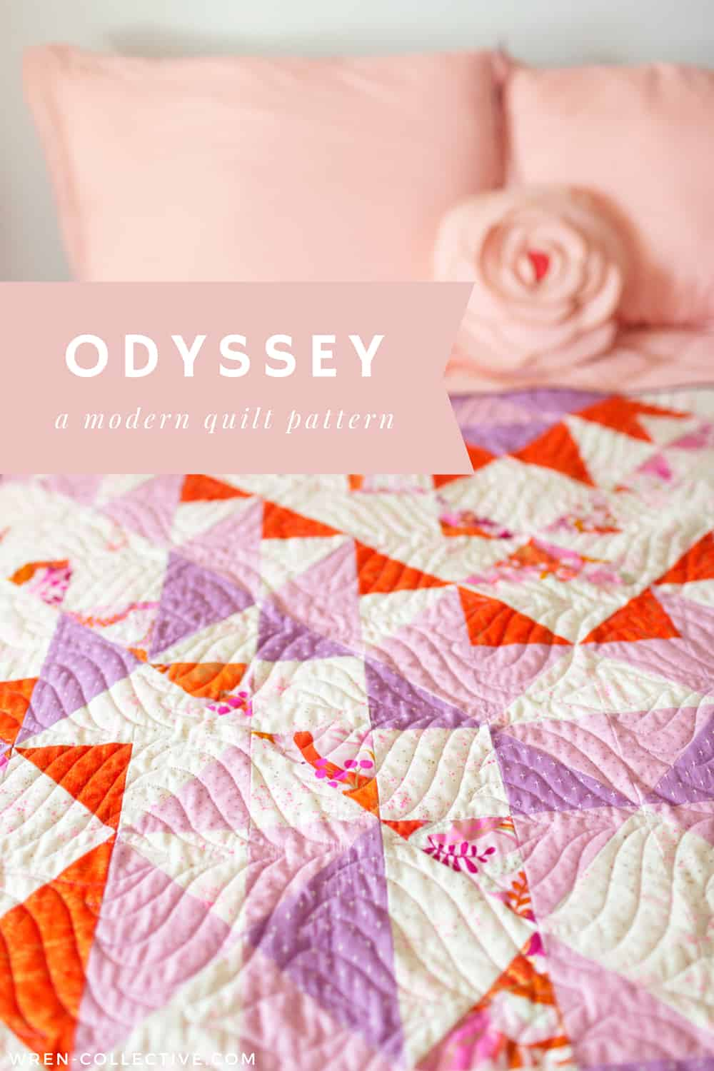 Modern half square triangle quilt - Odyssey quilt from Wren Collective002
