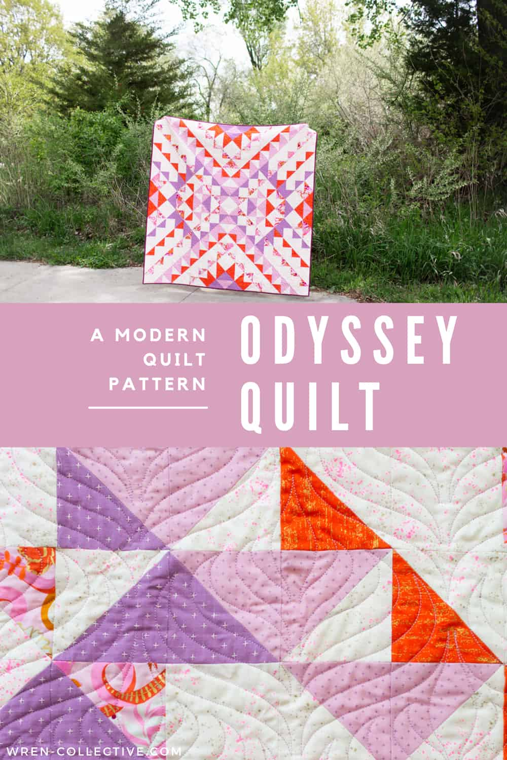Modern half square triangle quilt - Odyssey quilt from Wren Collective003