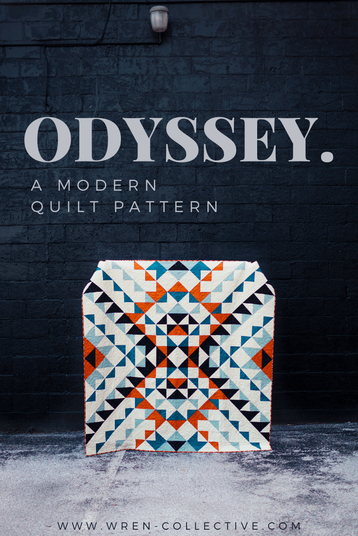 Black and white half square triangles - Odyssey quilt pattern from Wren Collective007