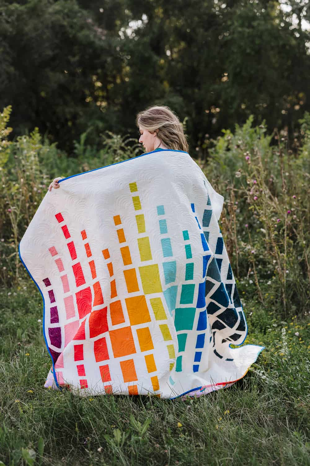 Rainbow Quilt Full Shot - Aftershock Quilt from Wren Collective